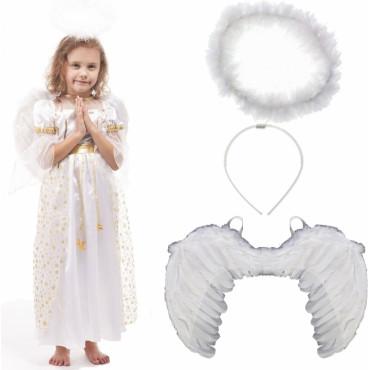 1dacec880b Strój Aniołek Anioł Skrzydła Sukienka Aureola kostium dla dziecka 110-116