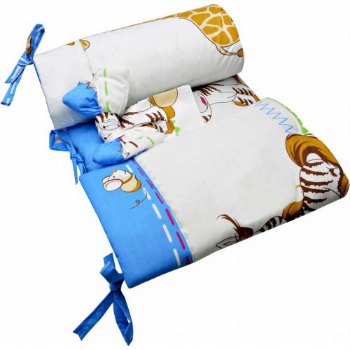 Komplet pościeli do łóżeczka - poszewki, wypełnienia i ochraniacz - 5 elementów - ZEBRA BALONIK NIEBIESKI