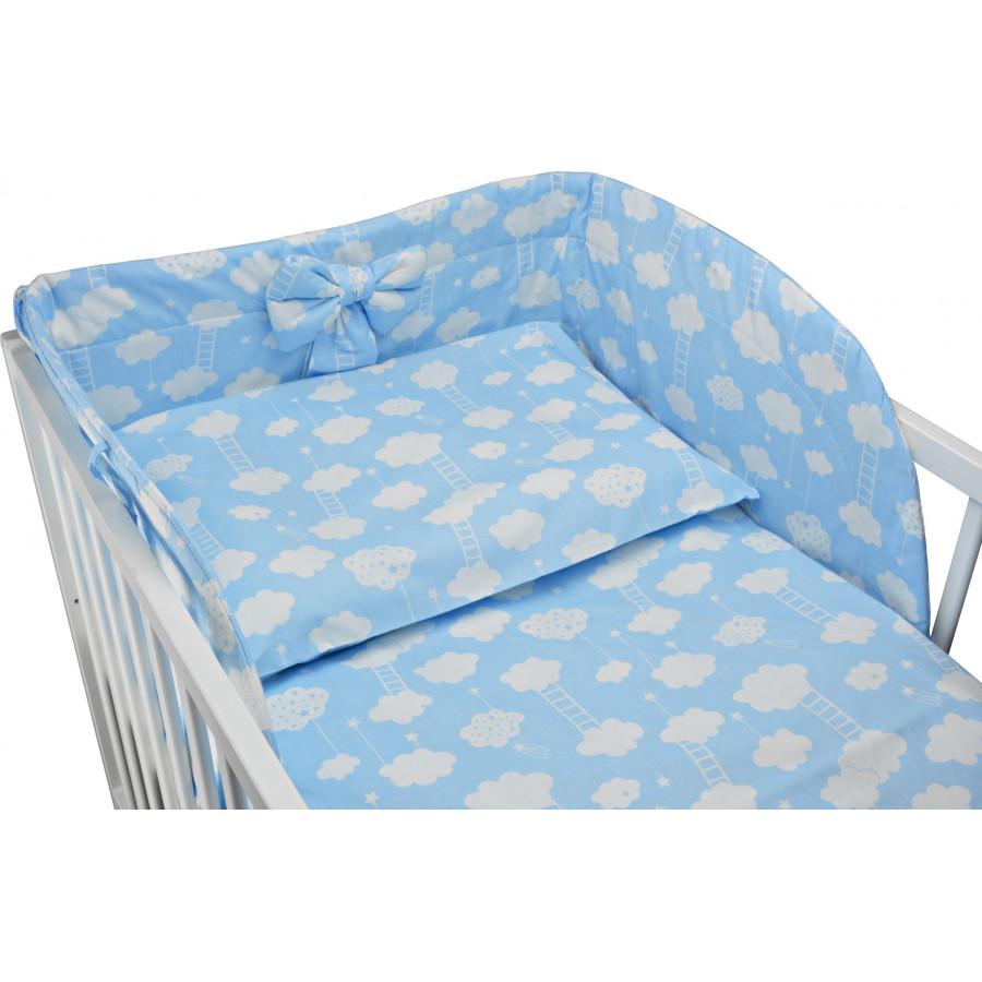 Komplet pościeli do łóżeczka - poszewki, wypełnienia i ochraniacz - 5 elementów - BŁĘKITNY W BIAŁE CHMURKI Z DRABINKĄ