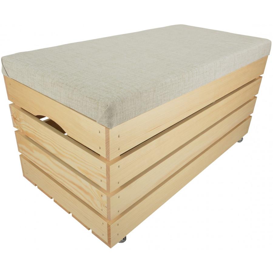 PUFA KUFER SKRZYNIA Z KÓŁKAMI drewniana sosnowa siedzisko 80cm NATURALNA
