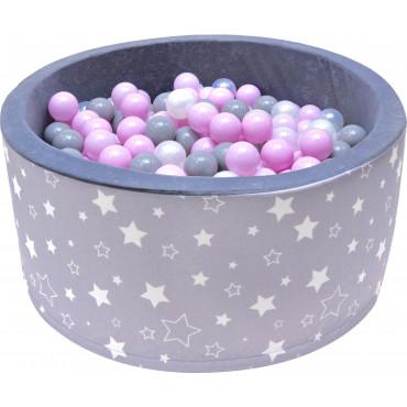 Suchy basen dla dzieci 90x40 z kulkami piłeczkami 7cm - Szary w białe gwiazdki