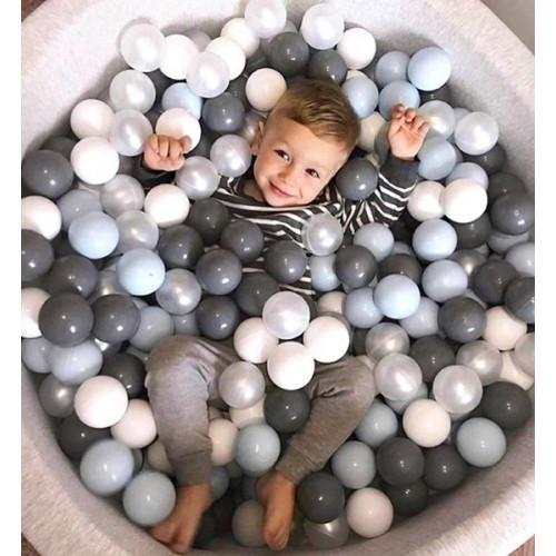 Suchy basen dla dzieci 90x40 z kulkami piłeczkami 7cm - Szare gwiazdki