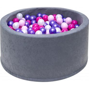 Suchy basen dla dzieci 90x40 z kulkami piłeczkami 7cm - Szary