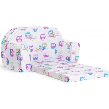 Sofka dziecięca rozkładana kanapa piankowa - Sowy biel