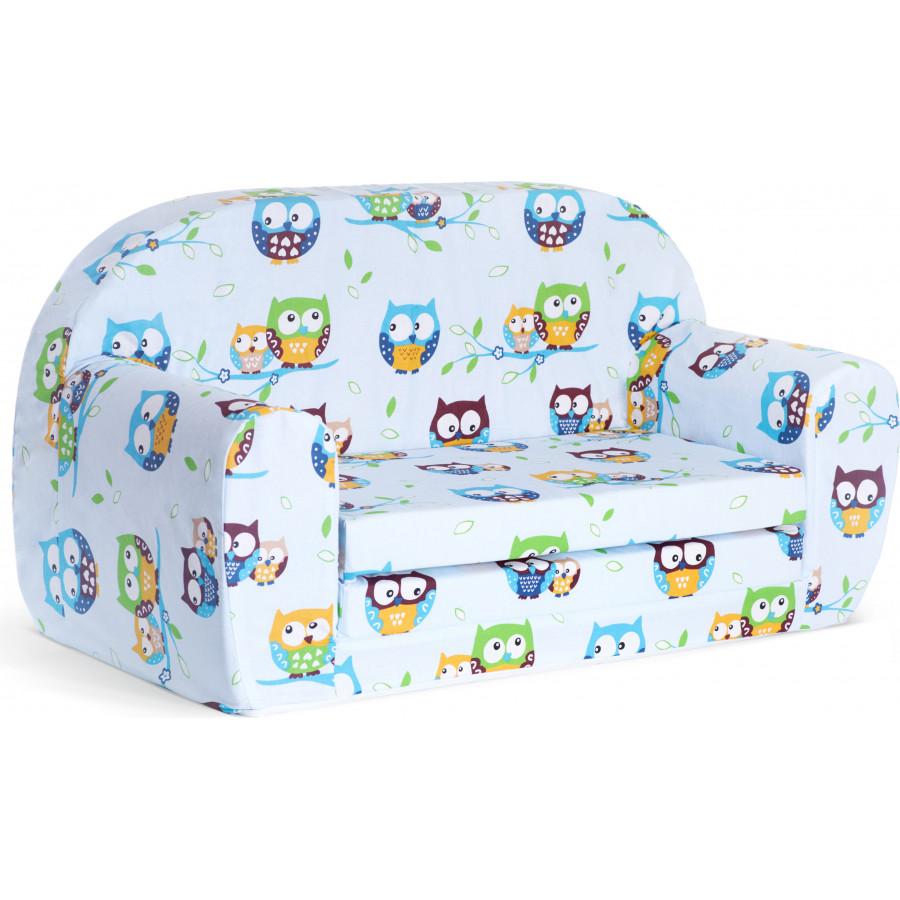 Sofka dziecięca rozkładana kanapa piankowa - Sowy niebieskie