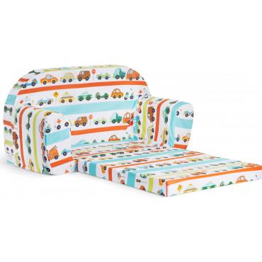 Sofka dziecięca rozkładana kanapa piankowa - Auta
