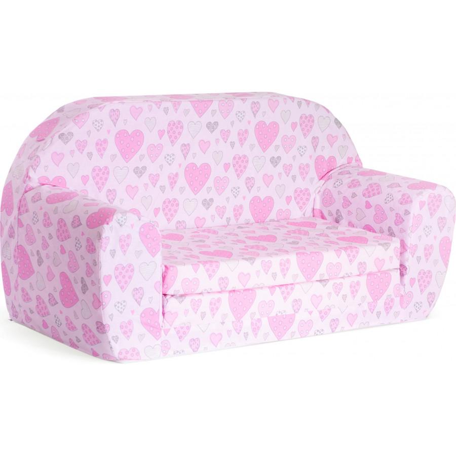 Sofka dziecięca rozkładana kanapa piankowa - Serca różowe
