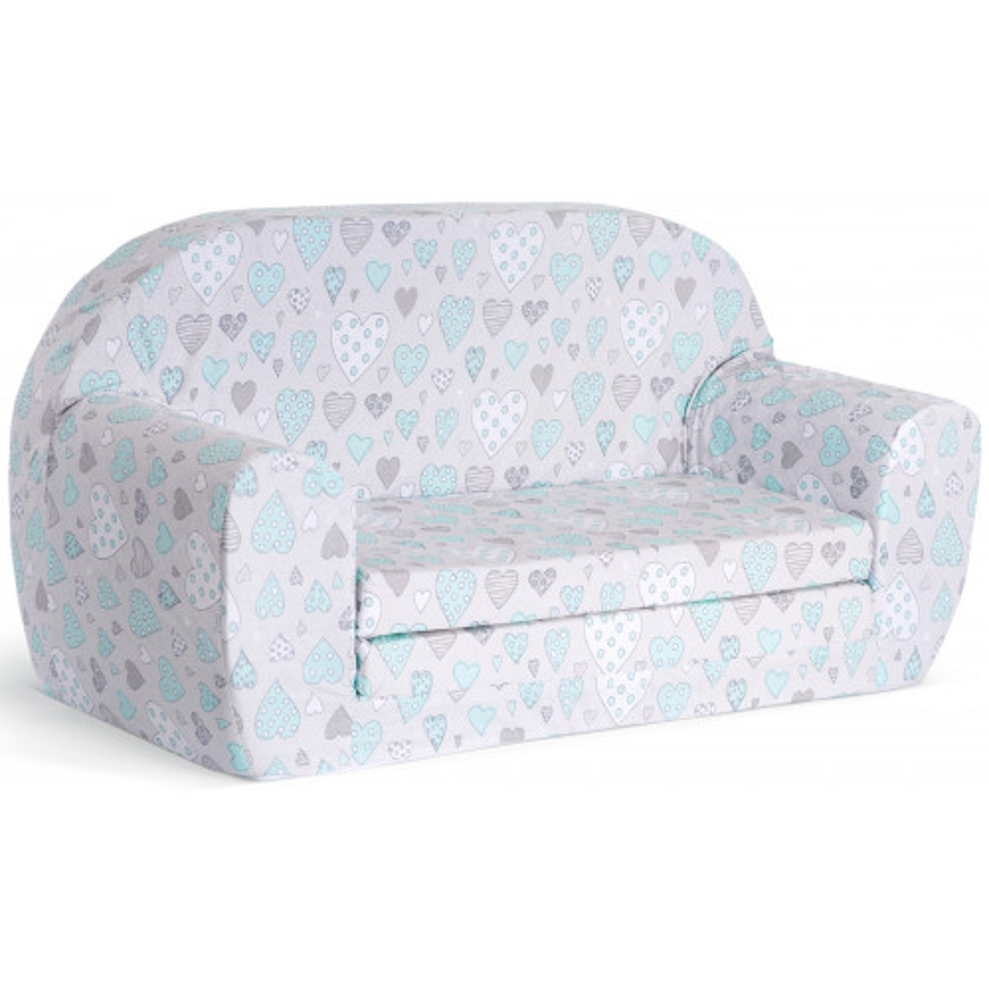 Sofka dziecięca rozkładana kanapa piankowa - Serca miętowe