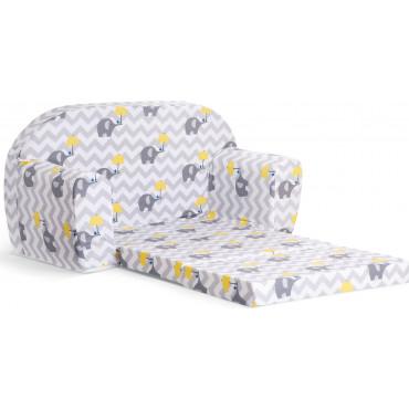 Sofka dziecięca rozkładana kanapa piankowa - Słoń z parasolką