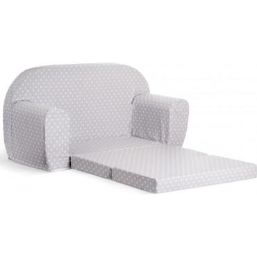Sofka dziecięca rozkładana kanapa piankowa - Szary w białe kropki