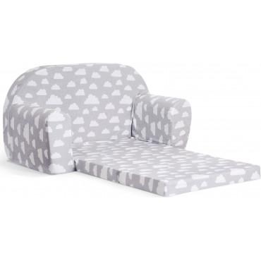 Sofka dziecięca rozkładana kanapa piankowa - Szary w białe chmurki