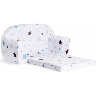 Sofka dziecięca rozkładana kanapa piankowa - Niebiesko-szare gwiazdki