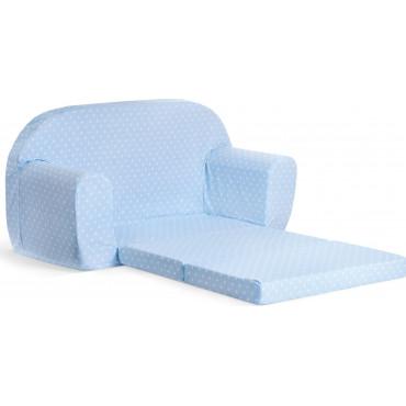 Sofka dziecięca rozkładana kanapa piankowa - Błękitny w białe kropki