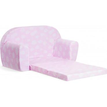 Sofka dziecięca rozkładana kanapa piankowa - Różowy w białe chmurki z drabinką