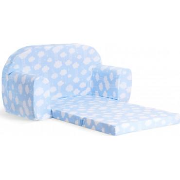 Sofka dziecięca rozkładana kanapa piankowa - Błękitny w białe chmurki z drabinką