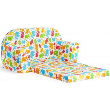 Sofka dziecięca rozkładana kanapa piankowa - Kolorowe słoniki
