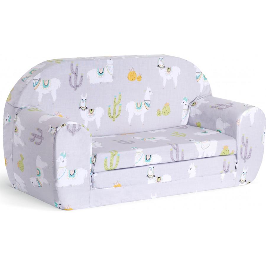 Sofka dziecięca rozkładana kanapa piankowa - Lamy szare