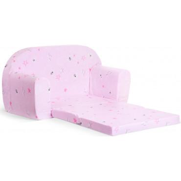 Sofka dziecięca rozkładana kanapa piankowa - Łebki róż