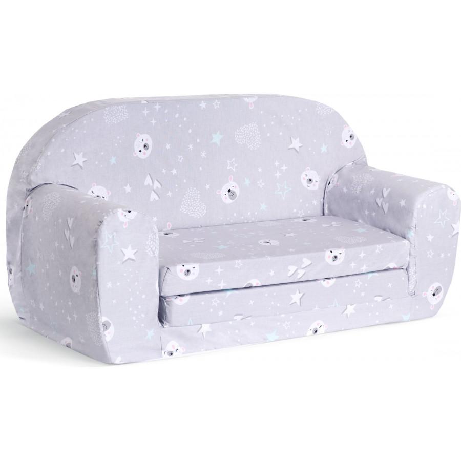 Sofka dziecięca rozkładana kanapa piankowa - Łebki szare