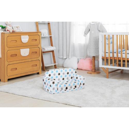 Sofka dziecięca rozkładana kanapa piankowa - Biały gwiazdozbiór na szarym tle