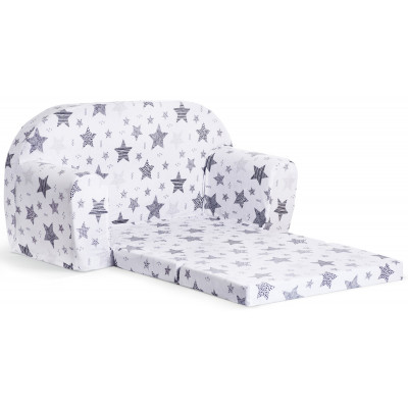 Sofka dziecięca rozkładana kanapa piankowa - Gwiazdy czarne puste pełne