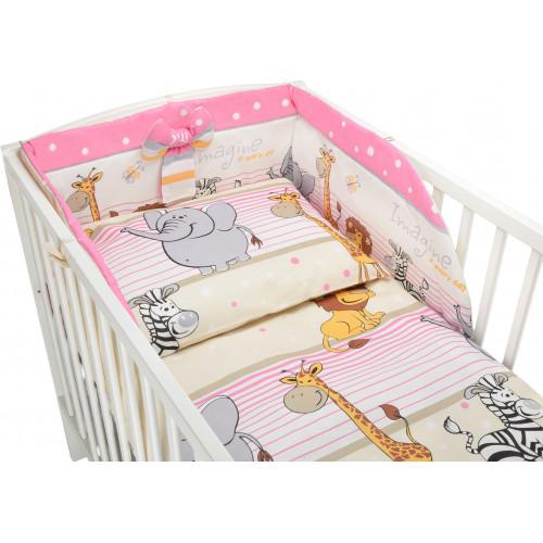 Bawełniana pościel do łóżeczka dziecięcego z kolekcji - Safari różowe