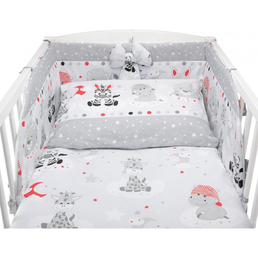 Bawełniana pościel do łóżeczka dziecięcego - ZEBRY I ŻYRAFY SZARA