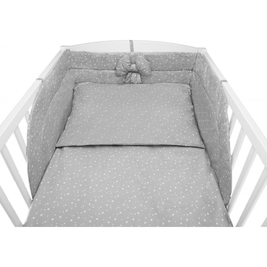 Szara pościel w gwiazdeczki do łóżeczka dziecięcego - bawełna 100%
