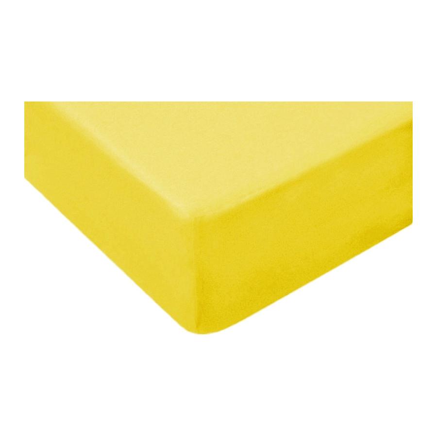 Prześcieradło bawełniane z gumką 140x70 Żółte