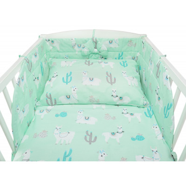 Miętowa pościel niemowlęca do łóżeczka w lamy