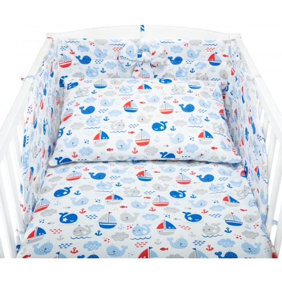 Kolorowa pościel do łóżeczka OCEAN - bawełniana 100%