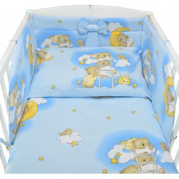 Komplet bawełnianej pościeli dziecięcej do łóżeczka - Miś na drabince