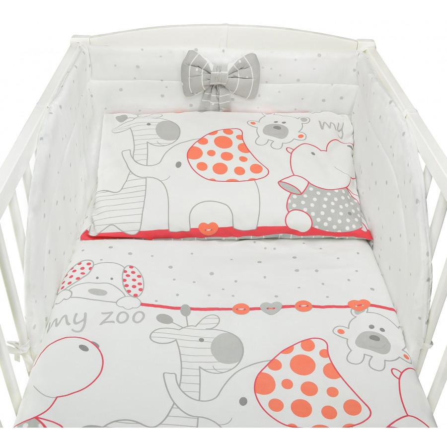 Zoo czerwone - pościel z bawełny do łóżeczka dziecięcego