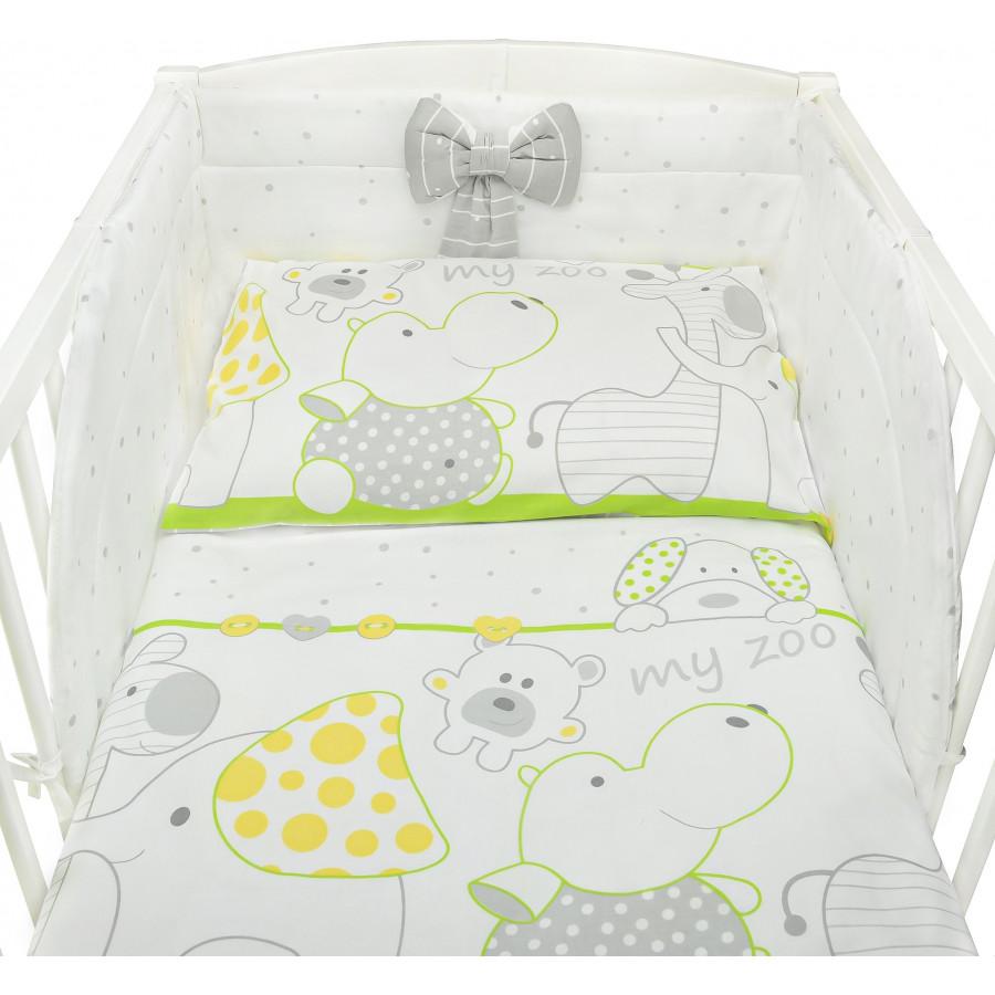 Zestaw pościeli dziecięcej do łóżeczka - Zoo zielone - Bawełna 100%