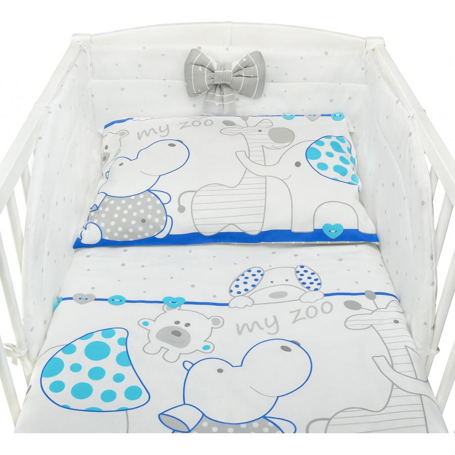 Komplet bawełnianej pościeli dziecięcej do łóżeczka - Zoo niebieskie