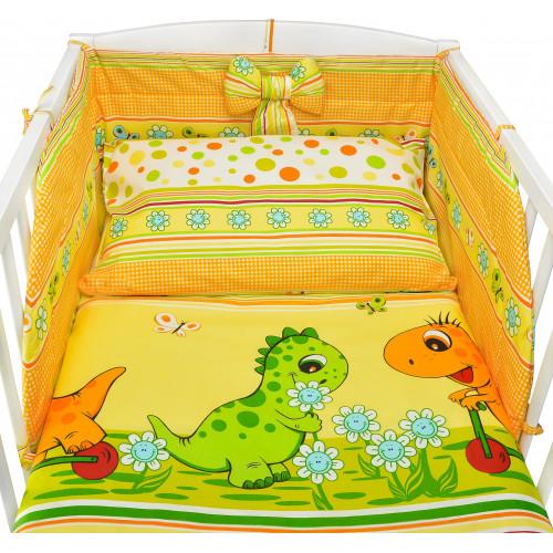 Pościel bawełniana do łóżeczka kolorowa w dinozaury - DINO
