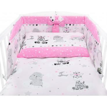 Bawełniana pościel do łóżeczka dziecięcego - ZEBRY I ŻYRAFY RÓŻ