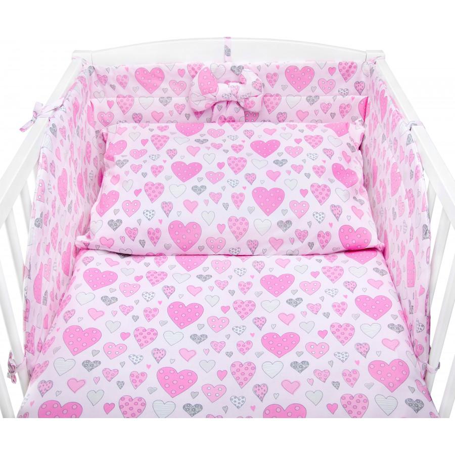 Pościel bawełniana do łóżeczka w różowe i białe serca serduszka