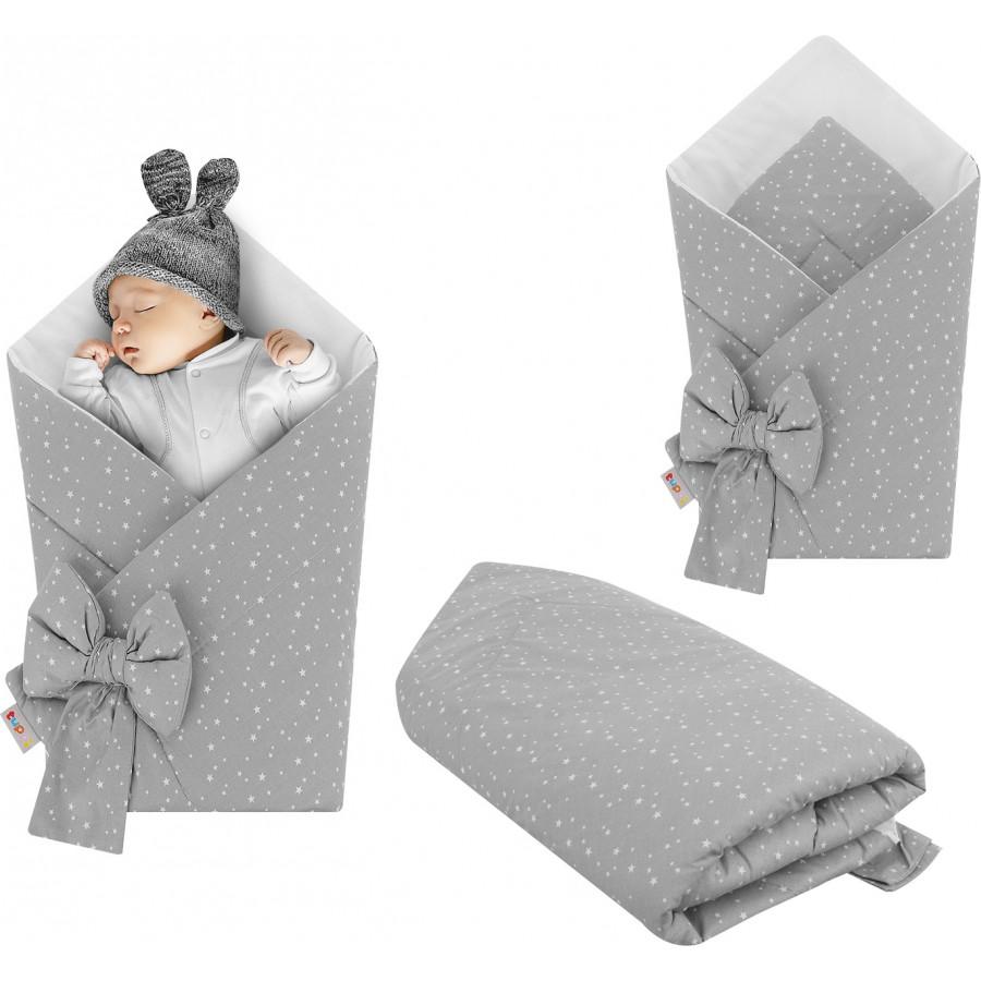 Rożek niemowlęcy bawełniany otulacz dziecięcy becik - SZARY GWIAZDOZBIÓR NA BIAŁYM TLE