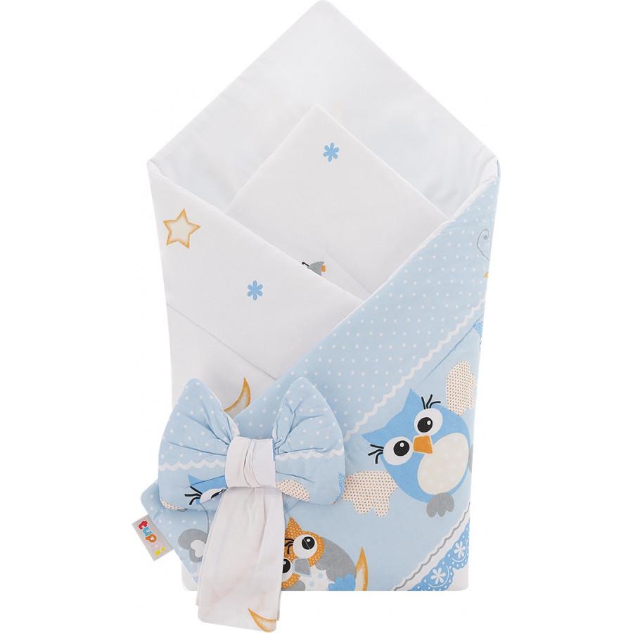 Rożek niemowlęcy bawełniany otulacz dziecięcy becik -SOWY NOCĄ NIEBIESKIE