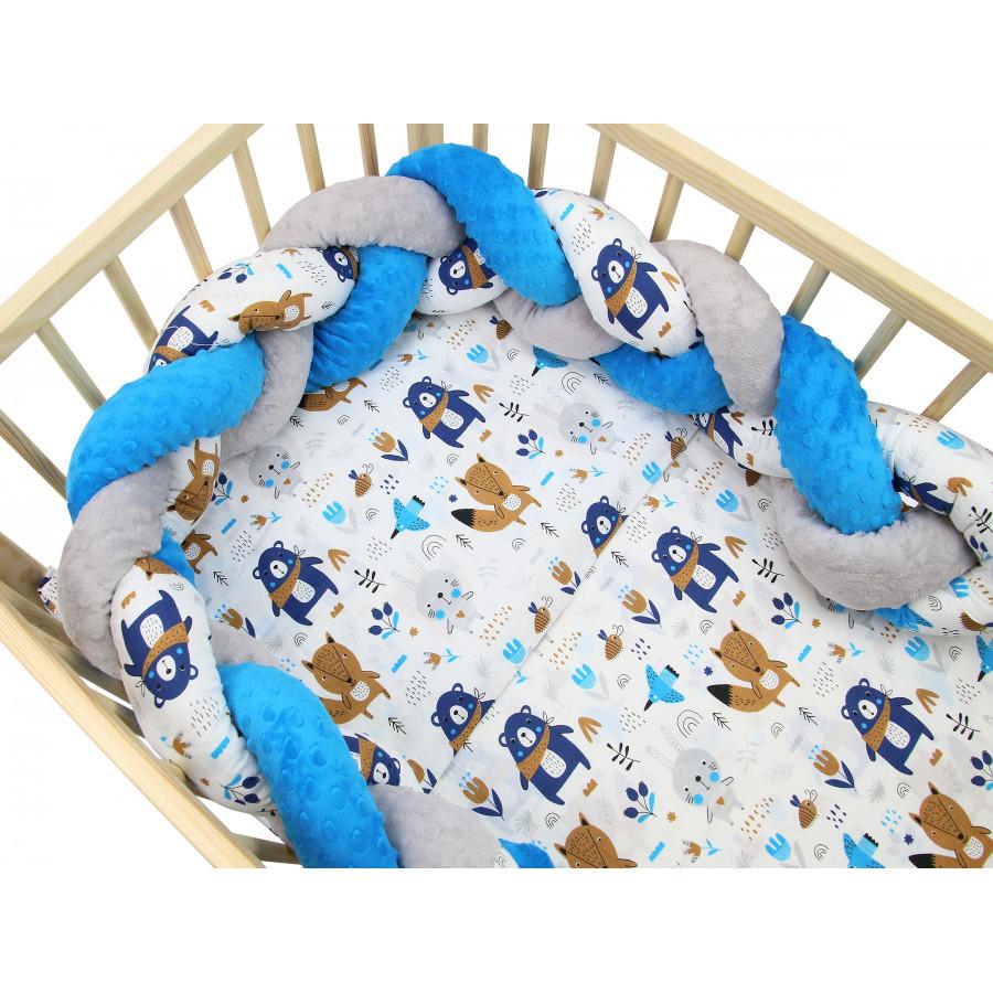 Pościel do łóżeczka bawełniana z warkoczem Minky - Zwierzątka granatowe