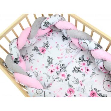 Pościel do łóżeczka bawełniana z warkoczem Minky - Łapacze snów z różą