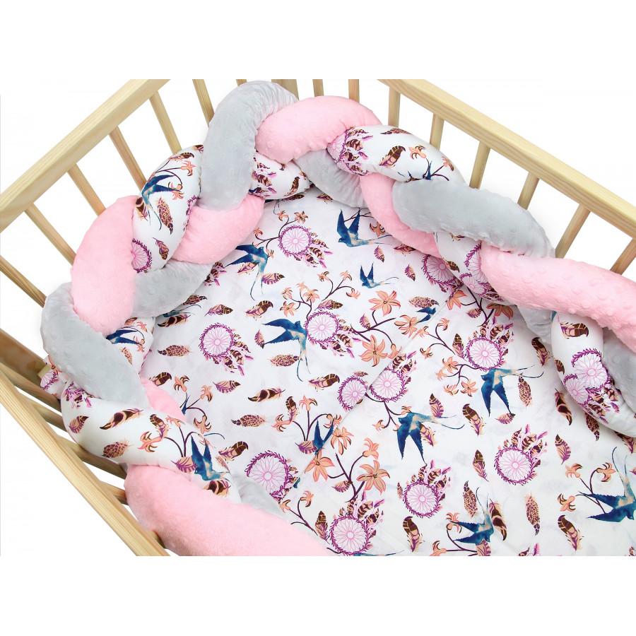 Pościel do łóżeczka bawełniana z warkoczem Minky - Łapacze snów róż z jaskółką